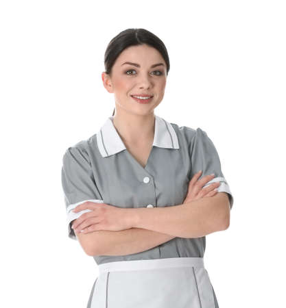 Photo for Young chambermaid in uniform on white background - Royalty Free Image