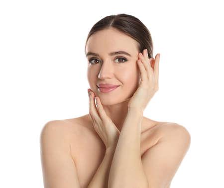 Photo pour Portrait of young woman with beautiful face on white background - image libre de droit