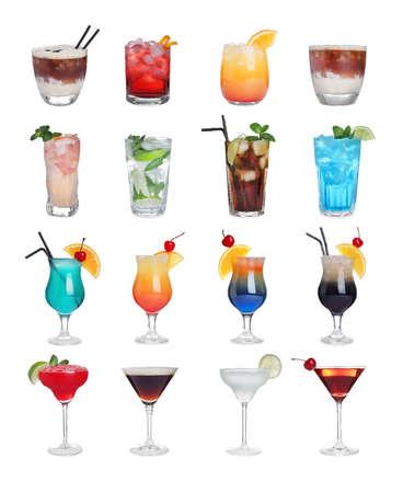 Photo for Set of tasty alcoholic cocktails isolated on white - Royalty Free Image