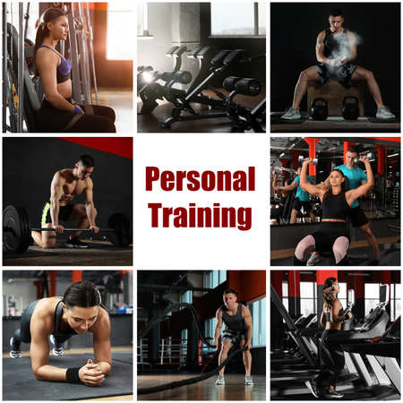 Photo for Collage of people in modern gym and text Personal Training - Royalty Free Image