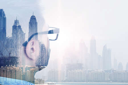 Photo for Double exposure of businessman and city landscape - Royalty Free Image