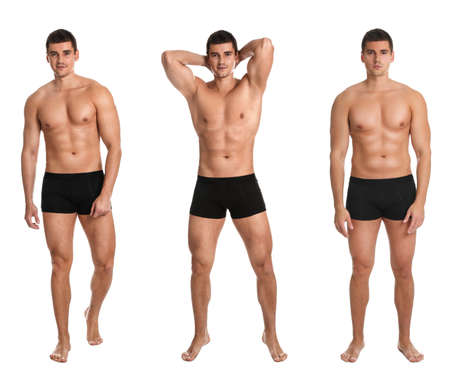 Photo pour Collage of man with sexy body on white background - image libre de droit