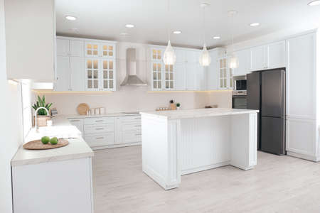 Photo for Beautiful kitchen interior with new stylish furniture - Royalty Free Image