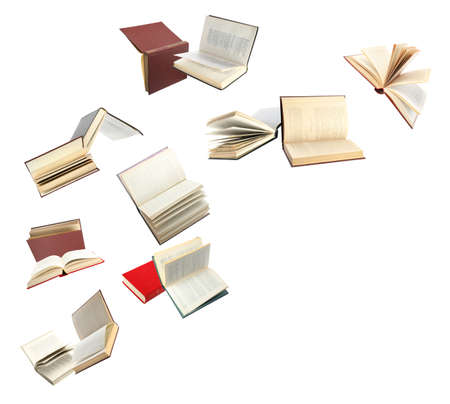 Photo for Old hardcover books flying on white background - Royalty Free Image
