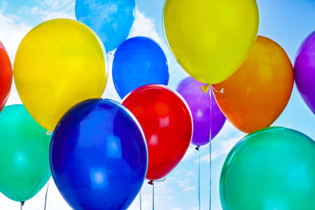 Photo for Many colorful balloons outdoors on sunny day, closeup - Royalty Free Image