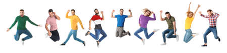 Photo for Collage of emotional people jumping on white background. Banner design - Royalty Free Image