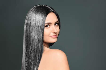 Photo pour Portrait of beautiful model with grey hair on dark background - image libre de droit