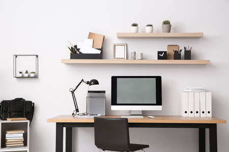 Photo for Modern computer on table in office interior. Stylish workplace - Royalty Free Image