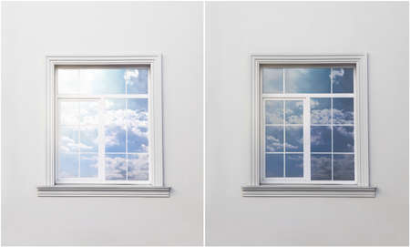 Photo pour Wall with window before and after tinting - image libre de droit