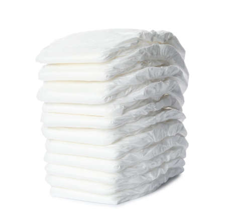 Photo pour Stack of baby diapers isolated on white - image libre de droit