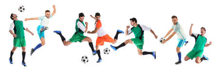 Photo pour Collage with photos of young men playing football on white background. Banner design - image libre de droit