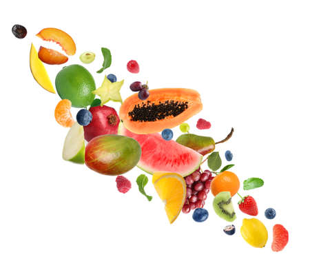 Photo for Set of different fresh fruits and berries on white background - Royalty Free Image