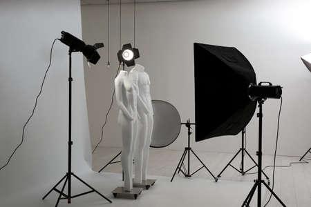 Photo pour Modern ghost mannequins in professional photo studio - image libre de droit
