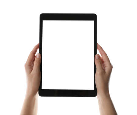 Photo for Woman holding tablet computer with blank screen on white background, closeup. Modern gadget - Royalty Free Image