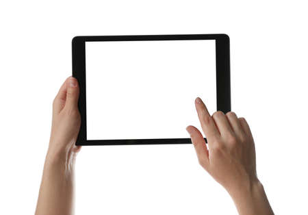 Photo for Woman using tablet computer with blank screen on white background, closeup. Modern gadget - Royalty Free Image