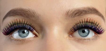 Photo pour Young woman with long color eyelashes, closeup. Banner design - image libre de droit