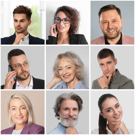 Photo for Collage with portraits of different business people - Royalty Free Image