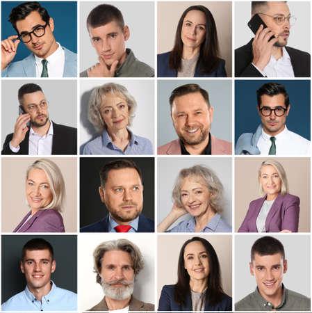Photo pour Collage with portraits of different business people - image libre de droit