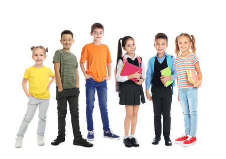 Photo for Group of cute school children on white background - Royalty Free Image