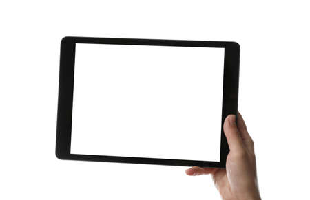 Photo pour Woman holding tablet computer with blank screen on white background, closeup. Modern gadget - image libre de droit