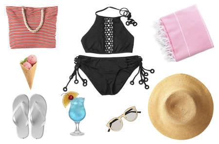 Photo for Set of different beach accessories and items on white background - Royalty Free Image