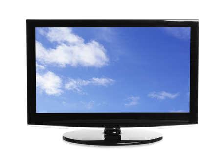 Foto de Modern plasma TV with skyscape on screen against white background - Imagen libre de derechos