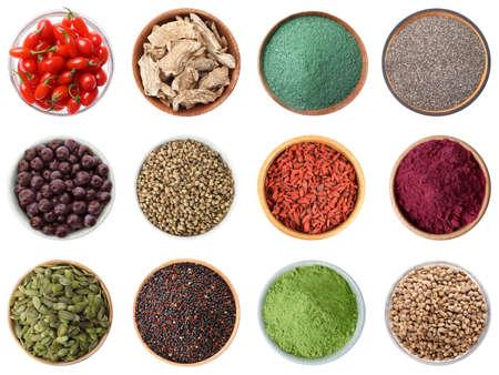 Photo pour Set of different superfoods on white background, top view - image libre de droit
