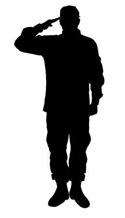 Foto per Silhouette of soldier in uniform on white background. Military service - Immagine Royalty Free