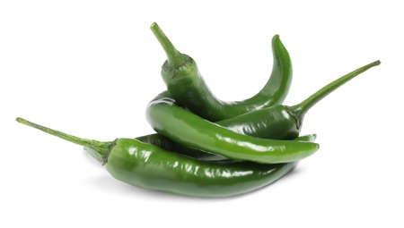 Foto für Green hot chili peppers on white background - Lizenzfreies Bild