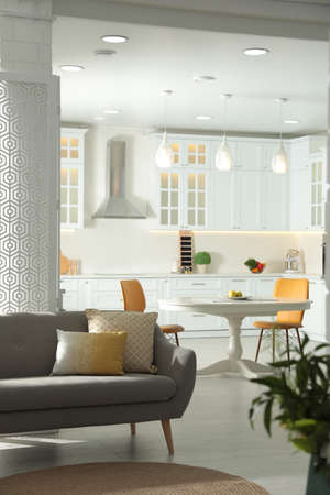 Foto de Stylish apartment interior with modern kitchen. Idea for design - Imagen libre de derechos