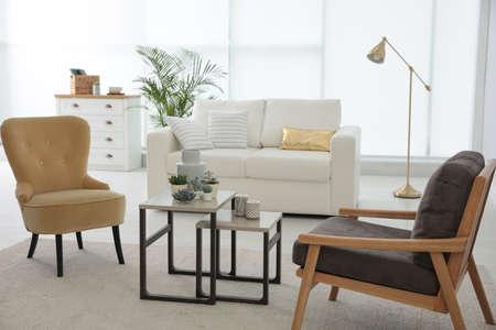 Photo pour Living room interior with stylish furniture. Idea for design - image libre de droit