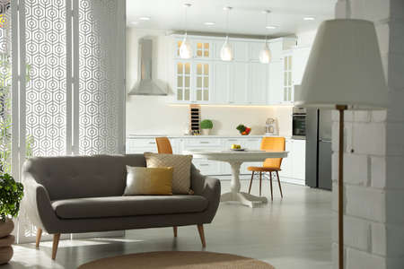 Photo for Stylish apartment interior with modern kitchen. Idea for design - Royalty Free Image