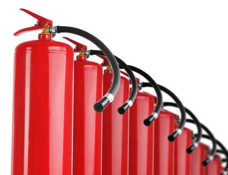 Photo pour Set with fire extinguishers on white background - image libre de droit