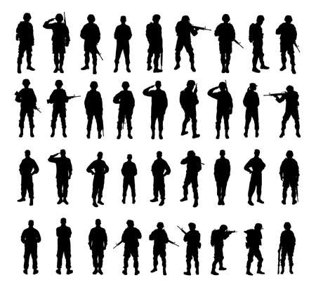 Foto de Collage with silhouettes of soldiers on white background. Military service - Imagen libre de derechos