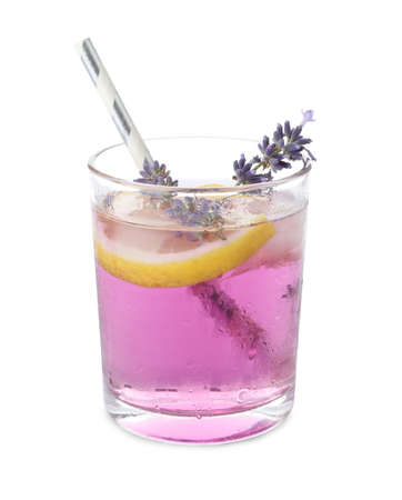 Photo pour Fresh delicious lemonade with lavender and straw isolated on white - image libre de droit