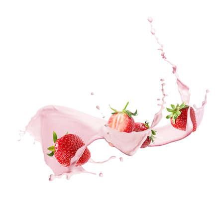 Photo for Fresh strawberries with milkshake splash on white background - Royalty Free Image