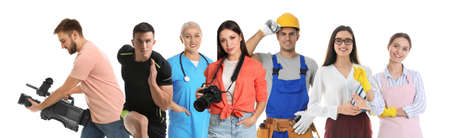 Photo pour Career choice. People of different professions on white background, banner design - image libre de droit