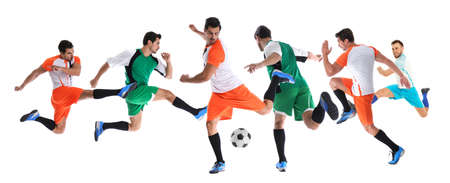 Photo for Collage of photos with young men playing football on white background. Banner design - Royalty Free Image