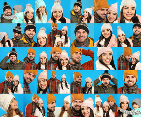 Photo pour Collage with photos of people wearing warm clothes on blue background. Winter vacation - image libre de droit