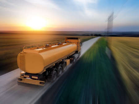 Photo for Logistics concept. Truck on country road, motion blur effect - Royalty Free Image