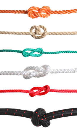 Photo for Set of different ropes with knots on white background - Royalty Free Image