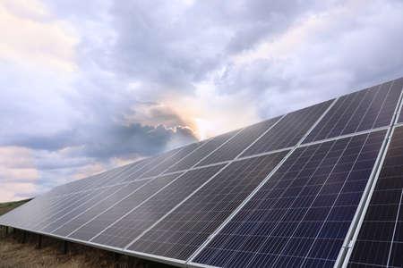 Photo pour Solar panels installed outdoors. Alternative energy source - image libre de droit