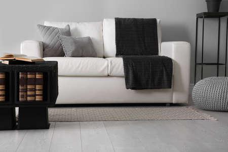 Photo pour Modern comfortable sofa in stylish living room interior - image libre de droit