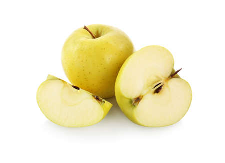 Photo for Fresh juicy yellow apples isolated on white - Royalty Free Image