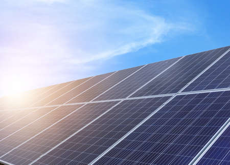 Photo for Solar panels installed outdoors. Alternative energy source - Royalty Free Image