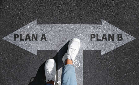 Photo pour Choosing between Plan A and Plan B. Woman near pointers on road, above view - image libre de droit
