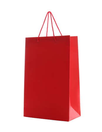 Photo for Red paper shopping bag isolated on white - Royalty Free Image