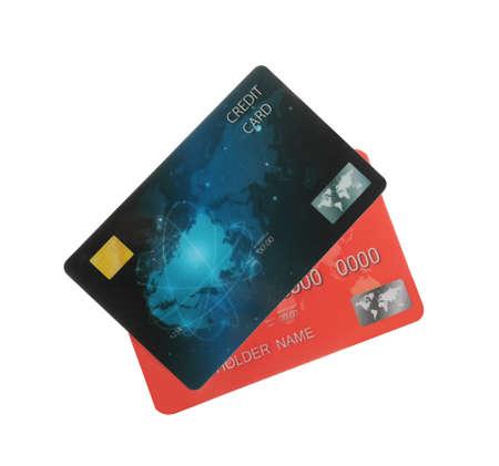 Photo pour Different plastic credit cards on white background - image libre de droit