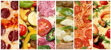 Photo pour Collage with different pizzas, closeup view. Banner design - image libre de droit