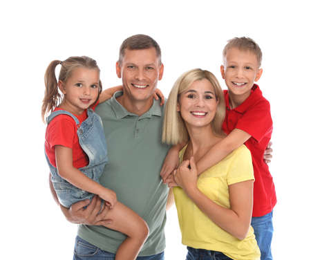 Photo for Happy family with children on white background - Royalty Free Image